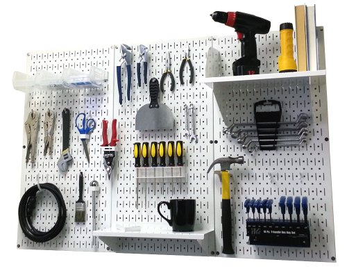 Pegboard Organizer Wall Control 4 ft Metal Pegboard Standard Tool Storage Kit with White Toolboard and White Accessories