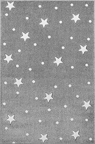 Livone Pflegeleichter Kinderteppich Baby Teppich Kinderzimmer Sterne Punkte in Silber grau Weiss Größe 100 x 150 cm