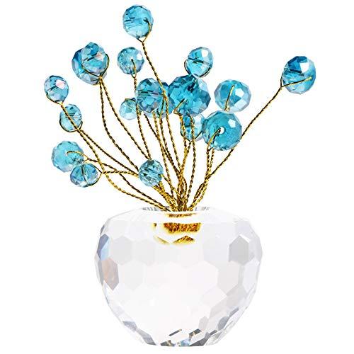 GARNECK Árbol de Cristal Feng Shui Dinero Árboles Bonsái Artificial Pisapapeles de Vidrio Buena Suerte Riqueza Ornamento para Sala de Estar Oficina Coche Decoración Regalos Azul Cielo