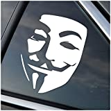 Anonymous Guy Fawkes Vinyl Car Window Decal Sticker White