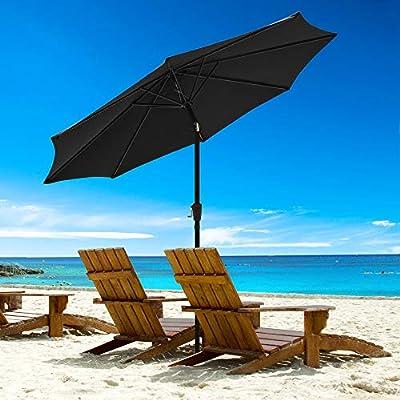 Yeshom 9 Ft Aluminum Outdoor Patio Umbrella with Crank Handle Tilt UV30+ Outdoor Yard