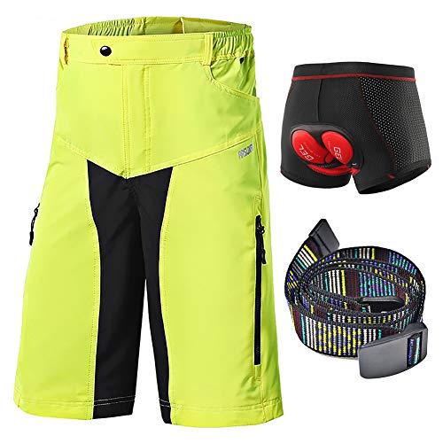 Loose Fit Mountainbikeshort Heren, MTB-Downhill-Sportshort, Fietsbroek 5D Gel-Gewatteerd, Ademend Vulling Wielondergoed Schokbestendig Lichtgewicht
