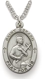 Sterling Silver Oval Saint Gerard Patron of Expectant Mothers Medal, 7/8 Inch