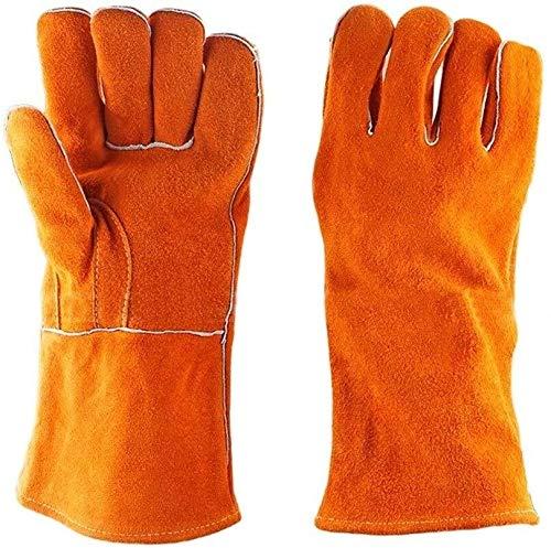 JIAHE115 mini handschoenen anti-snijden anti-botsing-cut mechanische handschoenen premium rundleer onderarmbescherming BBQ handschoenen bescherming vuur grill open haard handschoenen werkers