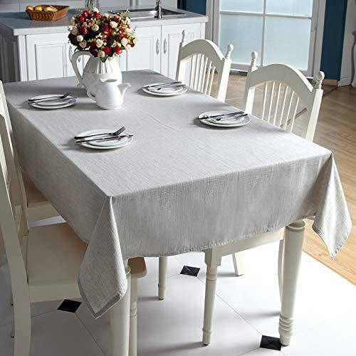 DJUX Simple Hilo teñido de algodón y Lino Liso Color sólido geométrico Rectangular Mantel Mesa de café Mantel Cubierta Toalla 120x120cm