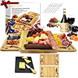 Bamboo Cheese Plate and Knife Set Extra-Large Charcuterie Board. Charcuterie Platter Excellent HousewarmingGifts.The Cheese Platter includes a Rock Tray,2 Sliding Drawers,4 Cheese Knvies and 6 Forks