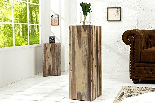 Preisvergleich Produktbild DuNord Design Säule Dekosäule Blumen Podest Catan 75cm Massiv Treibholz Vintage Beistelltisch