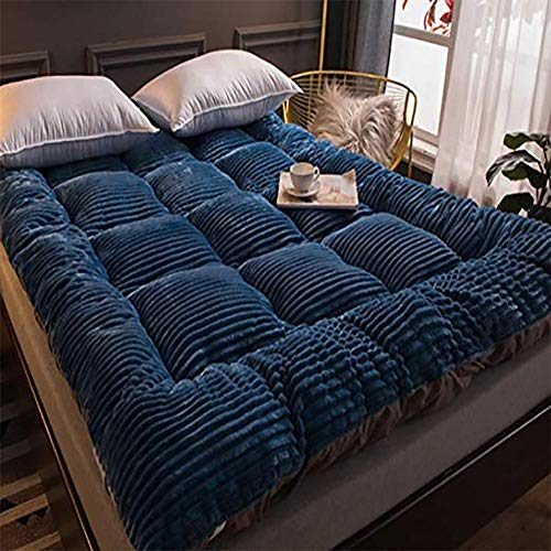 Felpa De Leche Colchón,colchón Futon Plegable Espesar Cómodo No-resbalón Caliente Alfombra para Dormir para Dormitorio Dormitorio Azul Real 180x200cm/71x79inch