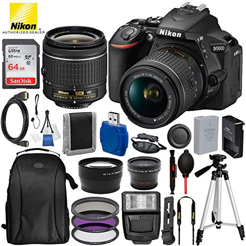 """Nikon D5600 DSLR Camera with 18-55mm Lens 1576 15PC Accessory Bundle – Includes SanDisk Ultra 64GB SDHC Memory Card + Digital Slave Flash + 3PC Filter Kit + 50"""" Tripod + Professional Backpack and MORE"""