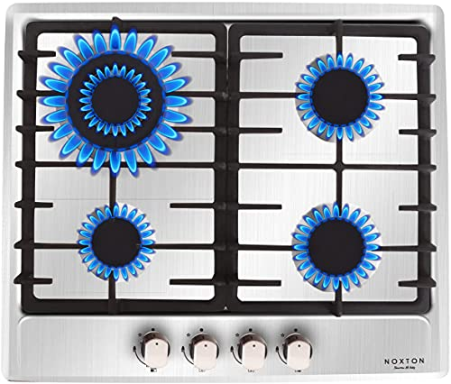 NOXTON 4 Burner Gas Hob, Built-in Cooker in Stainless Steel with LPG Kit [Energy Class A+]