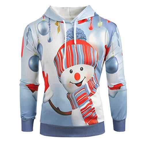 Aoogo Herren Pullover Weihnachten Hoodie Weihnachten Känguru Pocket Cartoon Schneemann Gedruckt Sweatshirt Pullove