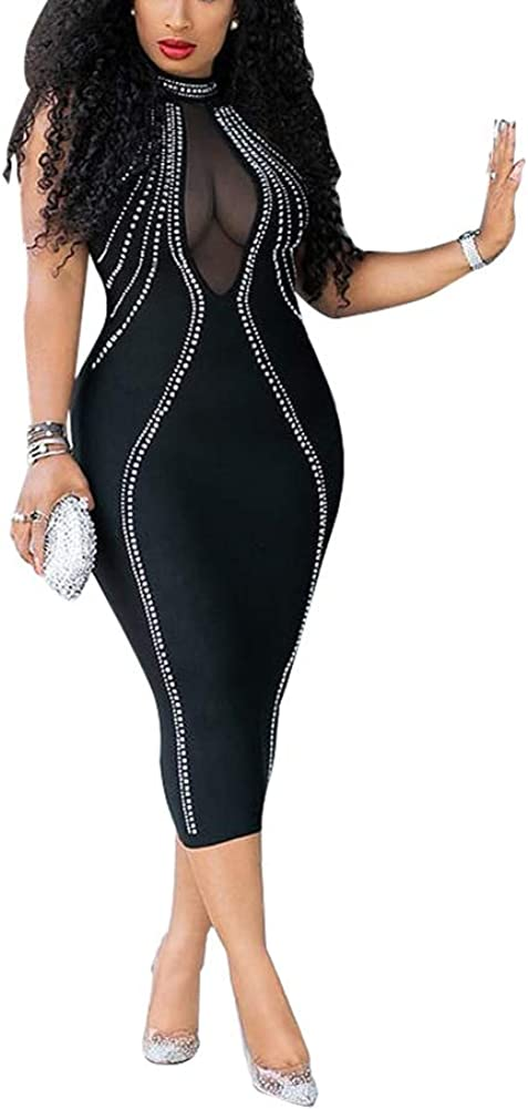 JUNBOON Women's Sexy Manufacturer regenerated product Mesh See In a popularity Zipper Through Rhinestone Bodycon