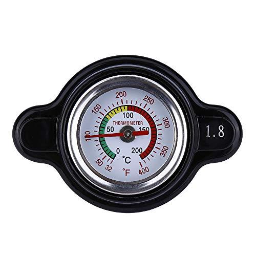 High Pressure Radiator Cap with Temperature Gauge, providing accurate temperature monitoring in real time, Fit for Honda, Kawasaki, Suzuki, Yamaha Motorcycle ATV Models 1.8 Bar, 25.6Psi