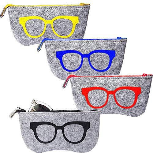 EMAGEREN 4pcs Fundas de Gafas Portátiles Bolsa para Gafas Estuche de Gafas de Sol Estuche de Gafas de Fielto, 4 Color de Dibujo, Funda para Gafas con Cinturon Bolsa de Almacenamiento