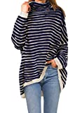 DOROSE Women's Long Sleeve Striped Sweaters Cowl Neck Oversize Knit Pullover Tops (Navy Blue, Large)