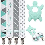 Liname Pacifier Clip for Boys with Bonus Teething Toy - 4 Pack Gift Packaging - Premium Quality & Unique Design - Pacifier Clips Fit All Pacifiers & Soothers - Perfect Baby Gift