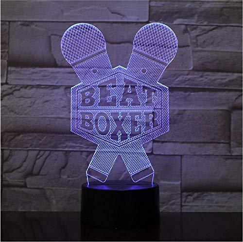 3D Lamp Optische Illusie Nachtlampje Boksen Beat Boxer Microfoon Meerdere Veranderende Kleur Touch Switch USB Power voor Bed Room Bar Afstandsbediening Telefoon Bluetooth Controle Kleur
