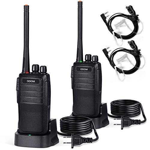 ODOM Two Way Radios Long Range Rechargeable Walkie Talkies for Adults - 16 Channels Handheld 2 Way Radio with Earpiece Headset (Black)
