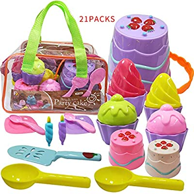 HaoMark Beach Sand Toys Party Cake Ice Cream Sandbox Mold Set 21 Pieces for Kids Toddlers Girls Boys 3-10 Gift