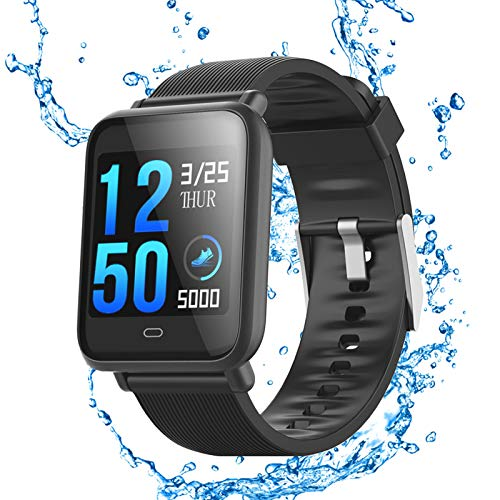 XFTOPSE Relógio inteligente para telefones Android, compatível com mensagens e chamadas iPhone Samsung, rastreador de atividades com monitor de pressão arterial Q9 com GPS, IP67 à prova d'água, contador de passos, pedômetro, monitor de sono