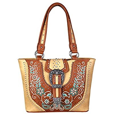 Montana West Concealed Carry Handbags Western Buckle Floral Embroidered Purses MW671G-8317 (Tan)
