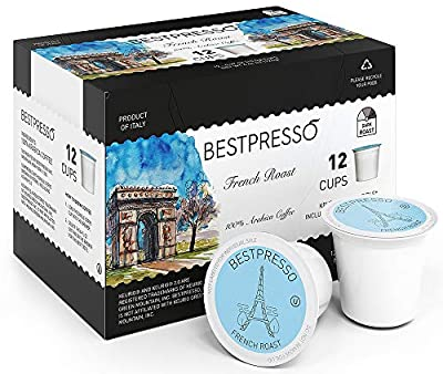 Bestpresso Coffee, French Roast Single Serve K-Cup Pods, Dark Roast, 96 Count (Compatible With 2.0 Keurig Brewers) 8 Packs Of 12 Cups