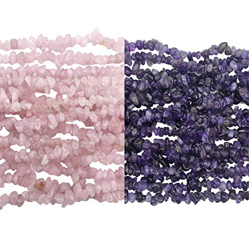 Fekuar 66' Irregular Tumbled Amethyst & Rose Quartz Chip Beads for Jewelry Making, Healing Crystal Drilled Loose Bead Strand DIY Craft Supplies, 5-8mm