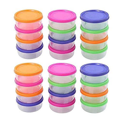 YANGYUE 24 Uds 150Ml Conveniente Mini Recipiente de plástico para Almacenamiento de Alimentos Estuche Redondo Mini congelador para Frutas y Verduras Horno de microondas Disponible