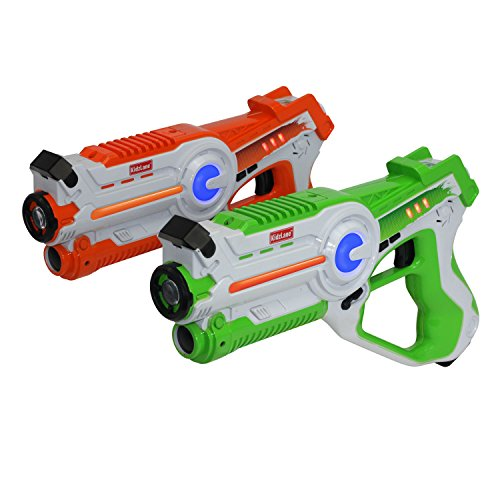 Kidzlane Infrared Laser Tag Game - Set of 2 Green / Orange - Infrared Laser Guns Indoor and Outdoor Activity. Infrared 0.9mW