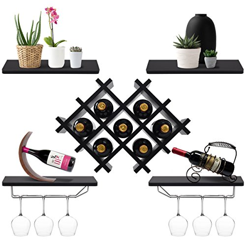Giantex Set of 5 Wall Mount Wine Rack Set w/Storage Shelves and Glass Holder (Black)