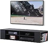 FITUEYES Madera Grano Mesa Flotante para TV Mueble para Audio Video Negro 100x30cm...