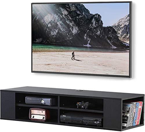 FITUEYES TV Board Lowboard Hängend Schwarz für 43-60 Zoll TV Wandhalterung Regal Medienkonsole Fernsehschrank mit 6 Offene Fäche für AV-Receiver/Xbox/Soundbar DS212002WB
