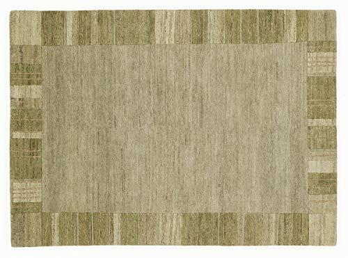 RAZZAGI MONZA echter original handgeknüpfter Nepal Teppich in serengeti, Größe: 70x140 cm