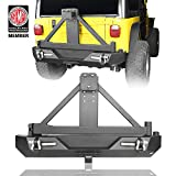 u-Box Different Trail Rear Bumper w/Tire Carrier & Receiver Hitch & LED Lights for 1987-2006 Jeep TJ YJ Wrangler