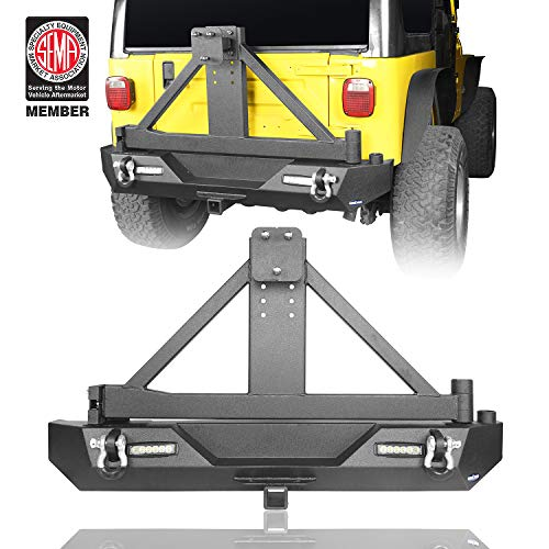 Different Trail Rear Bumper w/Tire Carrier & Receiver Hitch & LED Lights for 1987-2006 Jeep TJ YJ Wrangler