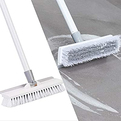 """Eyliden Floor Scrub Brush with Long Handle and Squeegee -50"""",Cleaning Tool,Brush with bristles for Bathroom,Kitchen, Patio Garage, Deck Tile Marble Stone Wood Floors."""