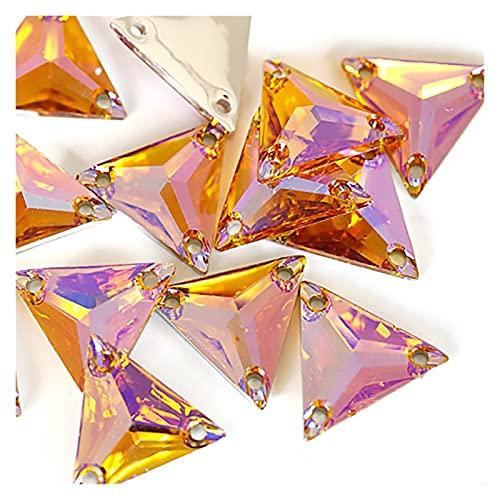CHUNMA Cristal Triangular AB Resina Colorido Cosido sobre Diamantes de imitación de Rhinestone Costura de Rhinestone Bolsas de Vestir decoración (Color : 8, Size : 16mm/50pcs)