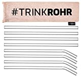 RINK ROHR - Pajitas de cristal reutilizables, 8 unidades, 2 cepillos de limpieza para pajitas de cristal, pajita de cristal, sin BPA, ideal para batidos, cócteles, zumos