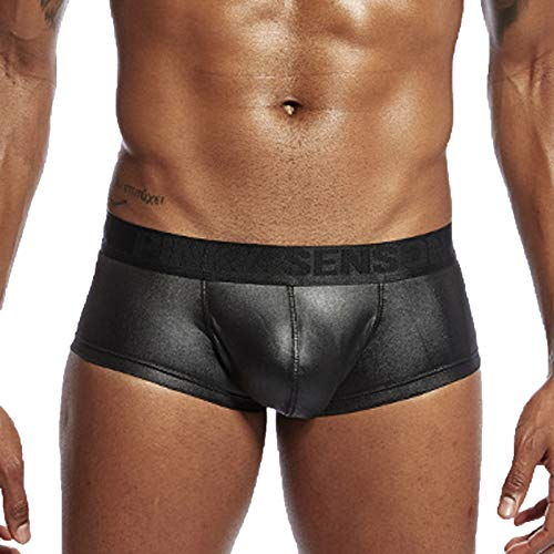 Boxershorts Herren Unterwäsche Slip Wetlook Sexy PU Leather Unterhosen Leder Dessous Bequeme Männer Kurze Hosen Bulge Pouch Slips Hipster Briefs Freizeit Shorts Boxer Retroshorts Erotische Reizwäsche