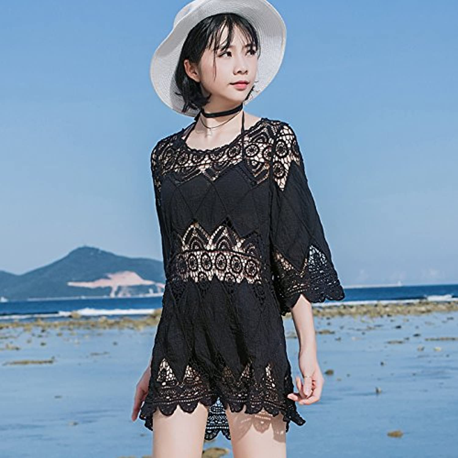 GAOLIM The Beach Resort Black and White Bikini Swimwear Women Cuff Exposed Length of CoverUp.