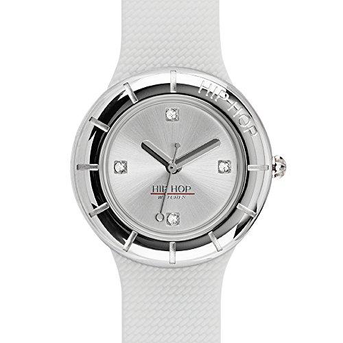 Orologio HIP HOP donna METAL quadrante argento e cinturino in silicone, metallo bianco, movimento SOLO TEMPO - 3H QUARZO