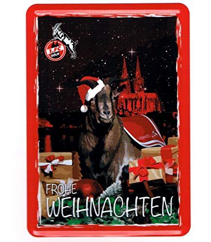 1. FC Keulen metalen ansichtkaart, mini metalen bord, kerstkaart, metalen kaart - plus bladwijzer I Love Keulen