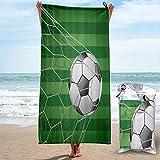 MOBEITI Toalla de baño de Microfibra Ultra Absorbente,balón de fútbol en la portería con Campo de Hierba,de Secado rápido,de Gran tamaño para Surf en la Playa,natación,SPA,Yoga
