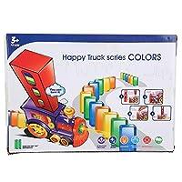 電気ドミノカー、ドミノおもちゃ、スプレッドドミノビルディングブロックおもちゃドミノプレイスおもちゃ子供用(Domino car (transparent 60 pieces)