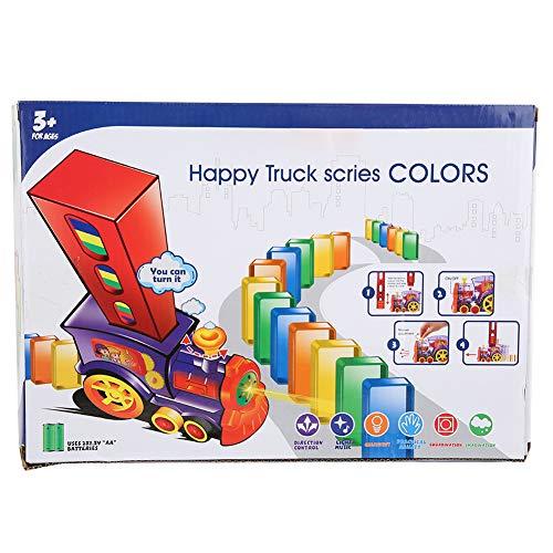 Juego de juguete de tren de dominó, modelo de tren eléctrico de rally con luz y sonido, 60 piezas de bloques de construcción de juego de dominó coloridos para niños, niños(60 piezas)