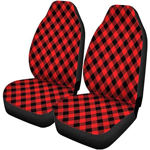 Beth-D autostoelhoezen, ruitpatroon, vichy-ruiten, vintage, rood en zwart, picknick, ruiten, set van 2