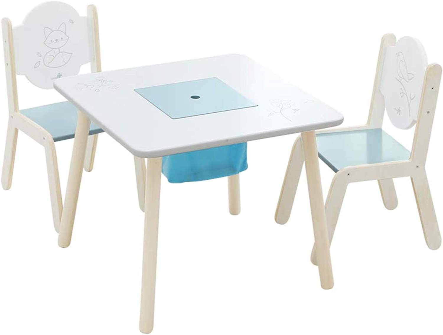 Wooden Activity Table Chair Set, Printed White Toddler Table ...