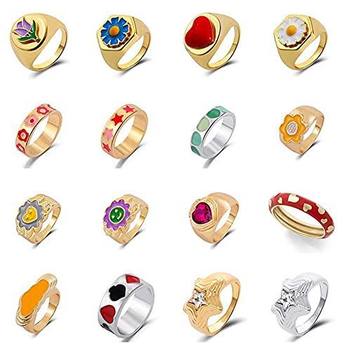 16pcs Y2K Colorful Rings Set,Cute Chunky Rings,Trendy Gold Signet Enamel Rings,Wide Aesthetic Statement Stackable Rings, Vintage Promise Friendship Rings for Women Girls