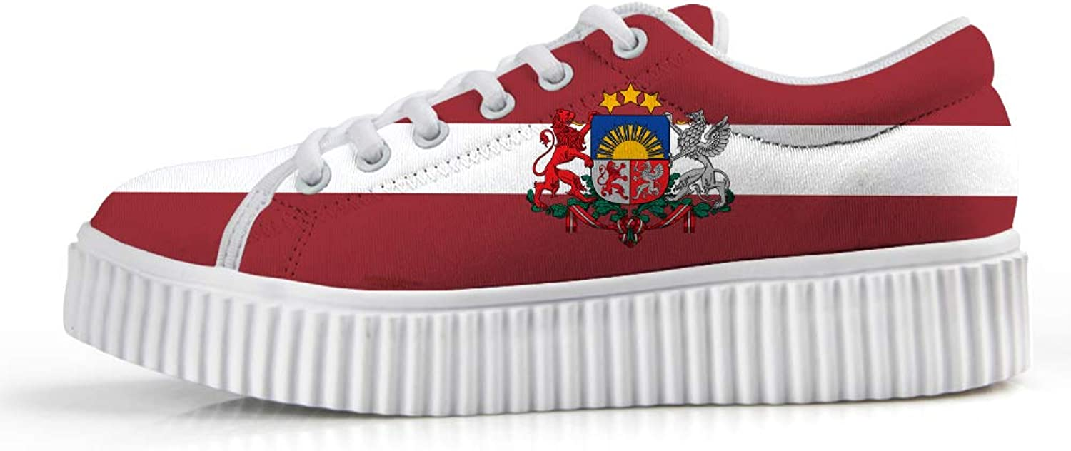Owaheson Platform Lace up Sneaker Casual Chunky Walking shoes Low Top Women Latvia Flag National Emblem