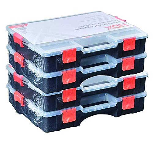 hdx storage cabinets HDX Tool Box Organizer, Interlocking Black Small Parts Organizer for Fasteners and Crafts w/Removable Dividers (4 Pack) With Single Touch Door Opener Tool